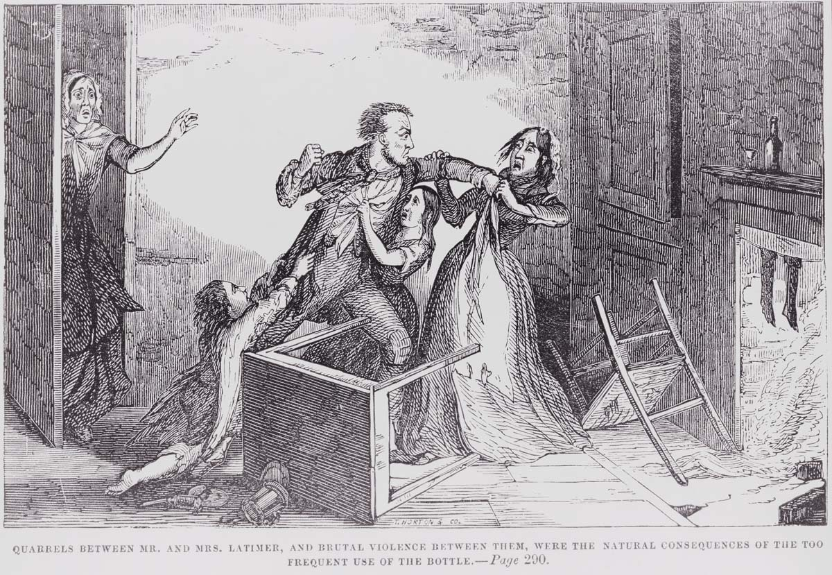 Temperance illustration of drunkard hitting his wife