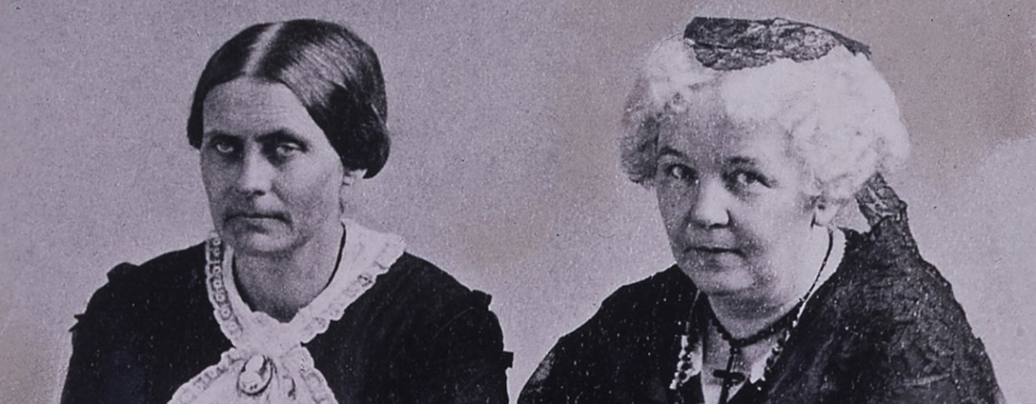 A black-and-white image of both Elizabeth Cady Stanton and Susan B. Anthony side-by-side.