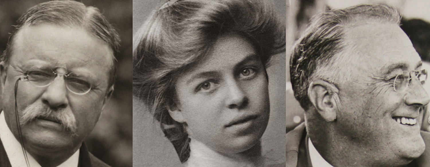 A black-and-white composite photo, comprised of headshots of Theodore Roosevelt, Eleanor Roosevelt and Franklin Delano Roosevelt.