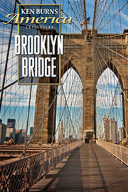 The poster for 'Brooklyn Bridge.' The image shows the bridge, as viewed from the center, looking up at the cable supports above.