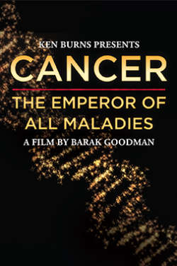 """A color poster for the film """"Cancer: The Emperor of All Maladies."""" It depicts a shining gold DNA double helix foregrounded against a black background. The film's title is displayed in gold text over that."""