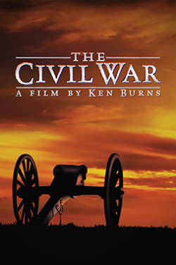 """A color poster for the film """"The Civil War."""" It depicts a civil war cannon looking out over a dramatic orange and yellow sunset."""