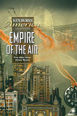 The poster for 'Empire Of The Air: The Men Who Made Radio.' It shows an orange angel against a green-hued cityscape, as electricity crackles around a radio transmitter.