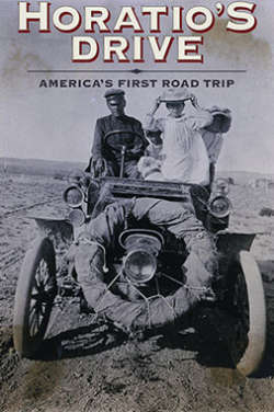 """A black-and-white poster for the film """"Horatio's Drive: America's First Road Trip."""" It depicts Horatio Nelson Jackson sitting with his wife and two children, along with his bulldog Bud, in a very old-fashioned open-air automobile."""