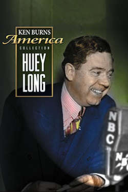 """A color poster for the film """"Huey Long."""" It depicts long, leaning toward a news microphone, smiling, against a green background."""
