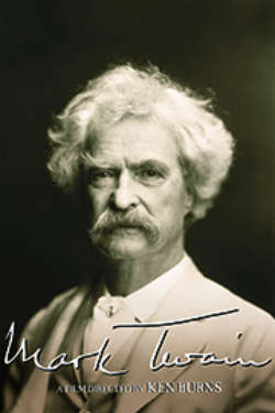 The poster for 'Mark Twain: A Film By Ken Burns.' It shows a sepia-toned photo of Mark Twain against a black background.