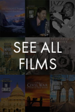 A composite image showing various film posters from the catalogue of Ken Burns films.