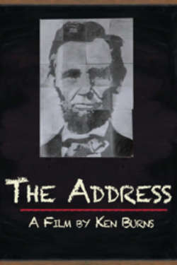 """The poster for """"The Address: A Film By Ken Burns."""" It shows a blue-hued image of President Abraham Lincoln, made up of separate square pieces of paper, pinned to a blackboard. The film's title is stylized as being written in chalk on the blackboard."""