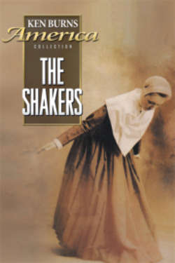 The poster for 'The Shakers.' The sepia-toned image shows a woman wearing traditional Shaker clothing, as she bows in a dance pose.
