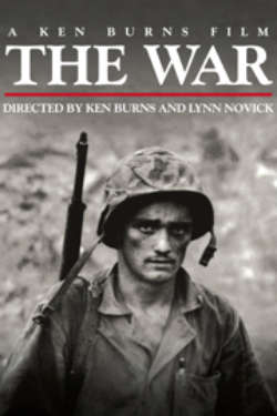 The poster for 'The War: Directed By Ken Burns & Lynn Novick.' It shows a black-and-white photo of a young soldier in camouflage and a helmet, with a serious expression.
