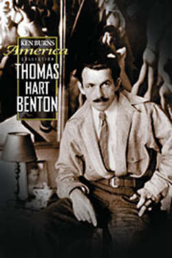 The poster for 'Thomas Hart Benton.' It shows a brown-hued photo of Thomas Hart benton sitting, posing in front of one of his paintings.