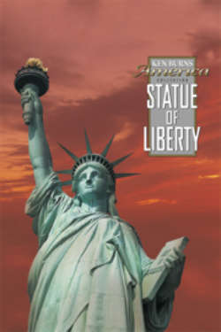 The poster for 'Statue of Liberty.' It shows the statue foregrounded against a dramatic orange sky.