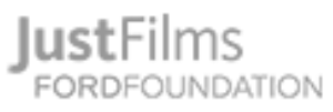 A gray text logo for Just Films / Ford Foundation