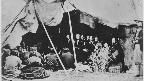 1024Px Photograph Of General William T  Sherman And Commissioners In Council With Indian Chiefs At Fort Laramie Wyoming Ca  1   Nara   531079   The Fort Laramie Treaty (1868)