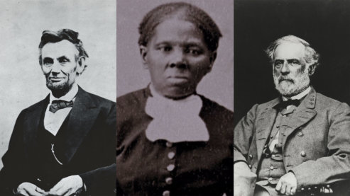 A black-and-white composite image of three separate photos: Abraham Lincoln, Harriet Tubman and Robert E. Lee, all facing the camera. | Biographies