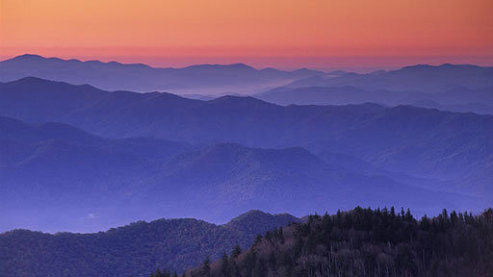 Blue-ridges-and-orange-dawn-glow-from-Clingmans-Dome-Great-Smoky-Mountains-National-Park | Great Smoky Mountains
