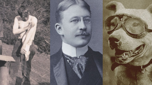 A composite image to show three photos: a sepia-toned photo of Sewall Crocker cleaning oil off his torso, a black-and-white photo of Horatio Nelson Jackson, and a sepia-toned photo of Bud the dog, wearing goggles.   The Crew