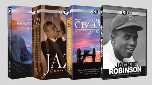 """A color composite image promoting some of the available Florentine Films products. The image shows DVD boxsets for """"The National Parks: America's Best Idea,"""" """"Jazz,"""" """"The Civil War"""" and """"Jackie Robinson."""" 