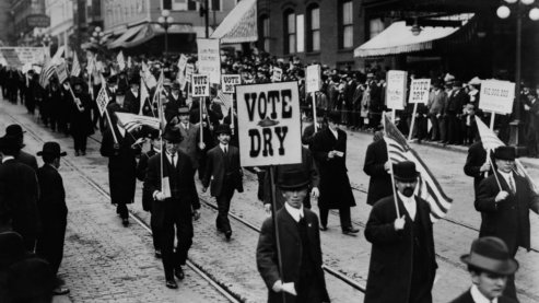 Women led the first campaigns for temperance, but later men, spurred by the Anti-Saloon League, rallied for dry laws in states throughout the country. | Photo Gallery