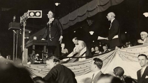 Mabel Walker Willebrandt, assistant United States Attorney General, before microphone in Kansas City convention hall 1928. | UNUM