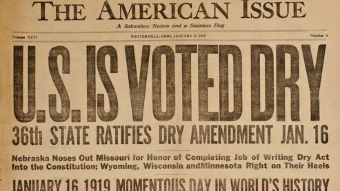"""Anti-Saloon League paper, The American Issue, with headline, """"U.S. Is Voted Dry."""" 