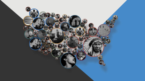 A promotional composite image for Ken Burns' UNUM. It shows a map of the United States of America made up of small circles, and in each of those circles is an image from one of Ken Burns' films. Many of these images are faces of interviewees or historical photos. In the background is a geometric gray, blue and white pattern. | Unum