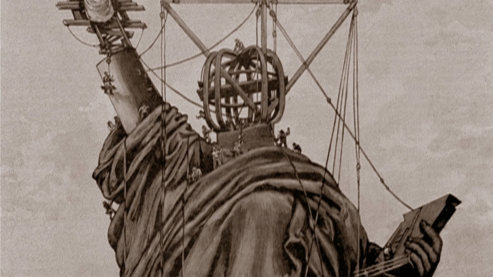 A brown-hued illustration depicting the Statue of Liberty being built. The support structure inside of the statue's head is visible. | Video