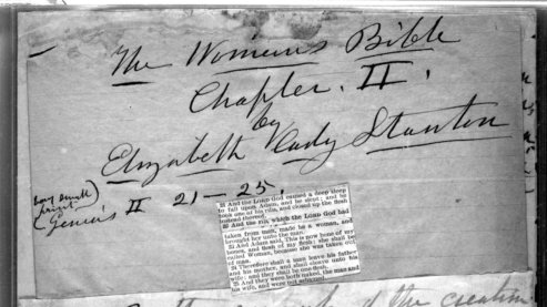 """A black-and-white photo of the title page of """"The Woman's Bible"""" by Elizabeth Cady Stanton. 