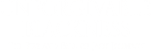 """A white logo for the film """"Unforgivable Blackness: The Rise and Fall of Jack Johnson"""""""