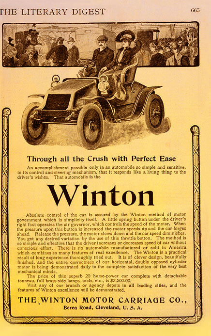 An original ad for the Winton Motor Car, with an illustration of a couple sitting atop the car, and a blurb about the car's selling points.
